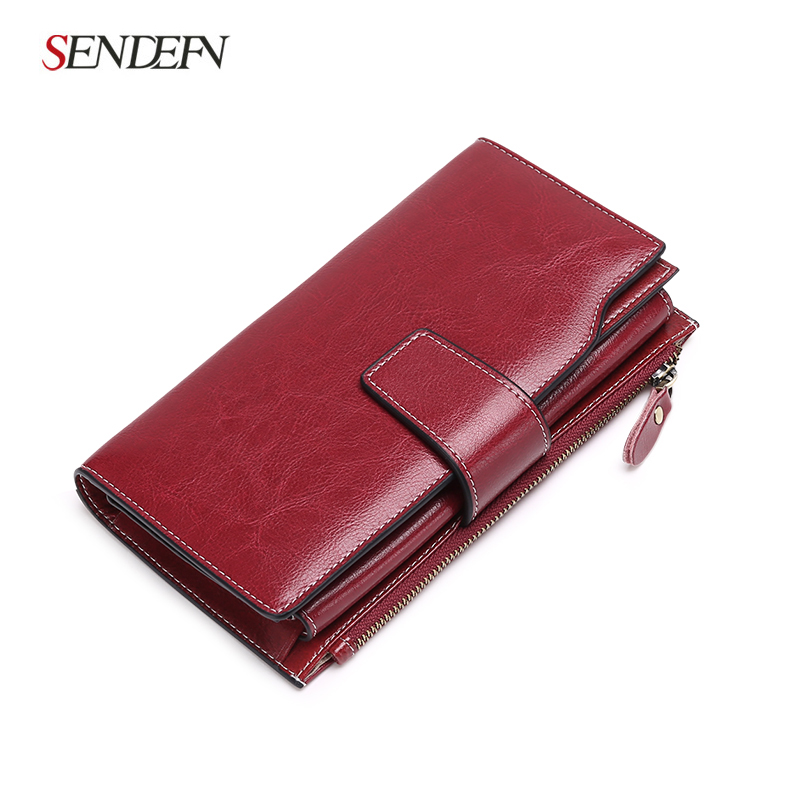 New Arrival Clutch Retro Wallet Split Leather Wallet Female Long Wallet Women Zipper Purse Card Holder Coin Purse For iPhone 7S
