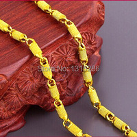 Hollow Beads Necklace Chain Men S Solid 24K Yellow Gold Filled Royal Carved Necklace Male Charming