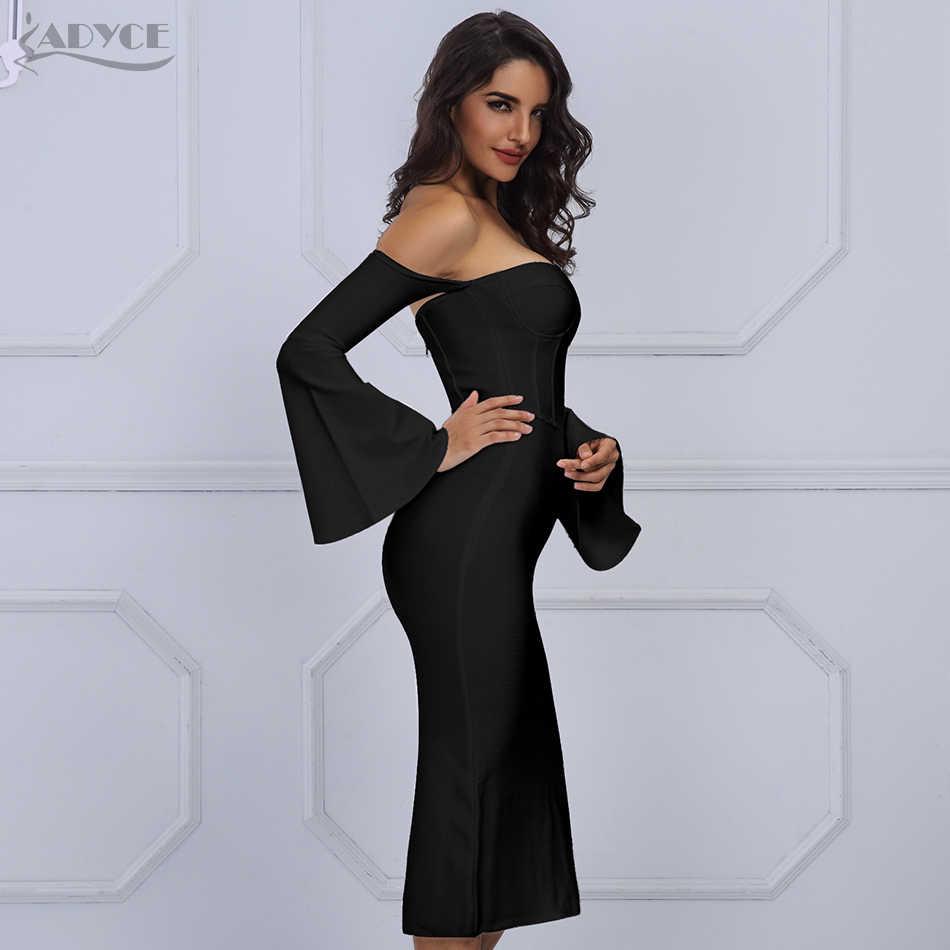 Женское облегающее платье-чулок ADYCE, вечернее клубное платье, с расклешенным рукавом, черный и белый цвета, обтягивающее короткое платье для зима, 2019