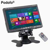 Podofo 7 TFT Color Car Reversing Rear View Monitor Security Display Screen 2 Video Input 2 AV In For DVD VCD Backup Camera