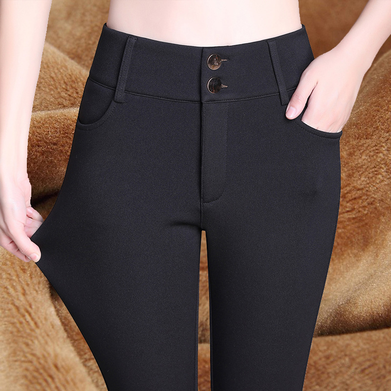 Winter Velvet Thickening Warm Pants For Women Skinny Stretch Pencil Pants With High Waist Black Blue Wine trousers Female