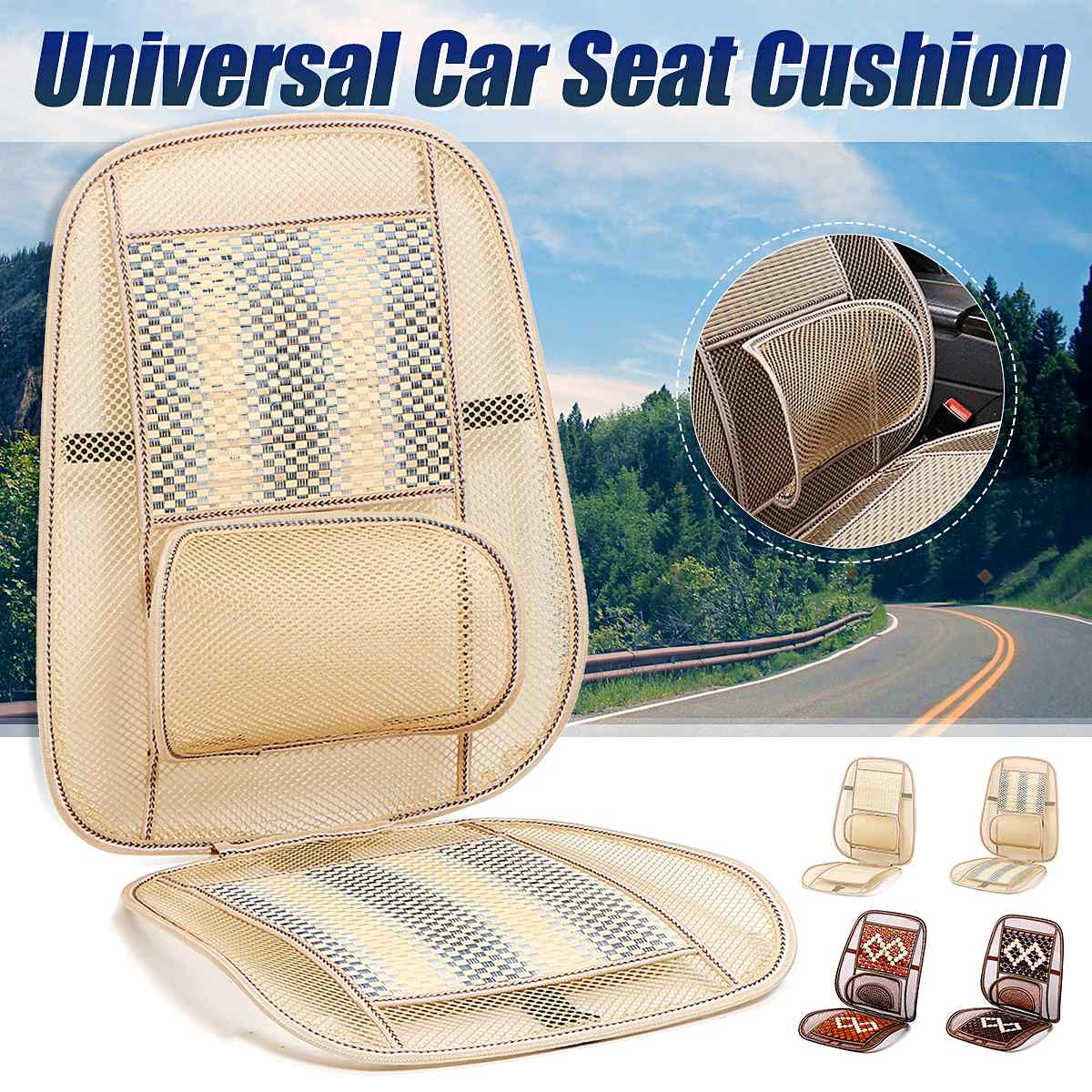 Bamboo Breathable Mesh Car Cushion Car Seat Cover Pad for most cars Home Chair Summer Cooling Pad Car Seat Cushion Waist Massage(China)