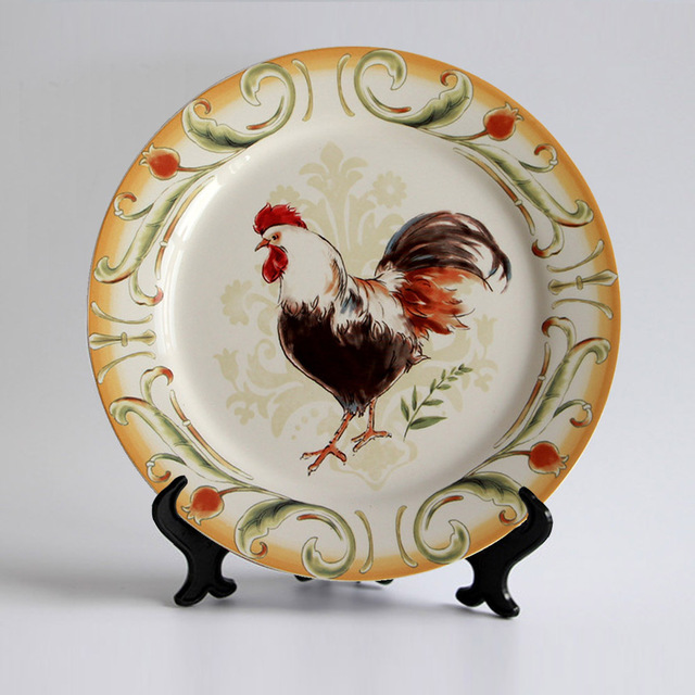 Hand-painted Rooster Drawing Under Glazed Edged Ceramic Porcelain Flatware Dish Plate Kitchen Utensils 10.8 & Hand painted Rooster Drawing Under Glazed Edged Ceramic Porcelain ...