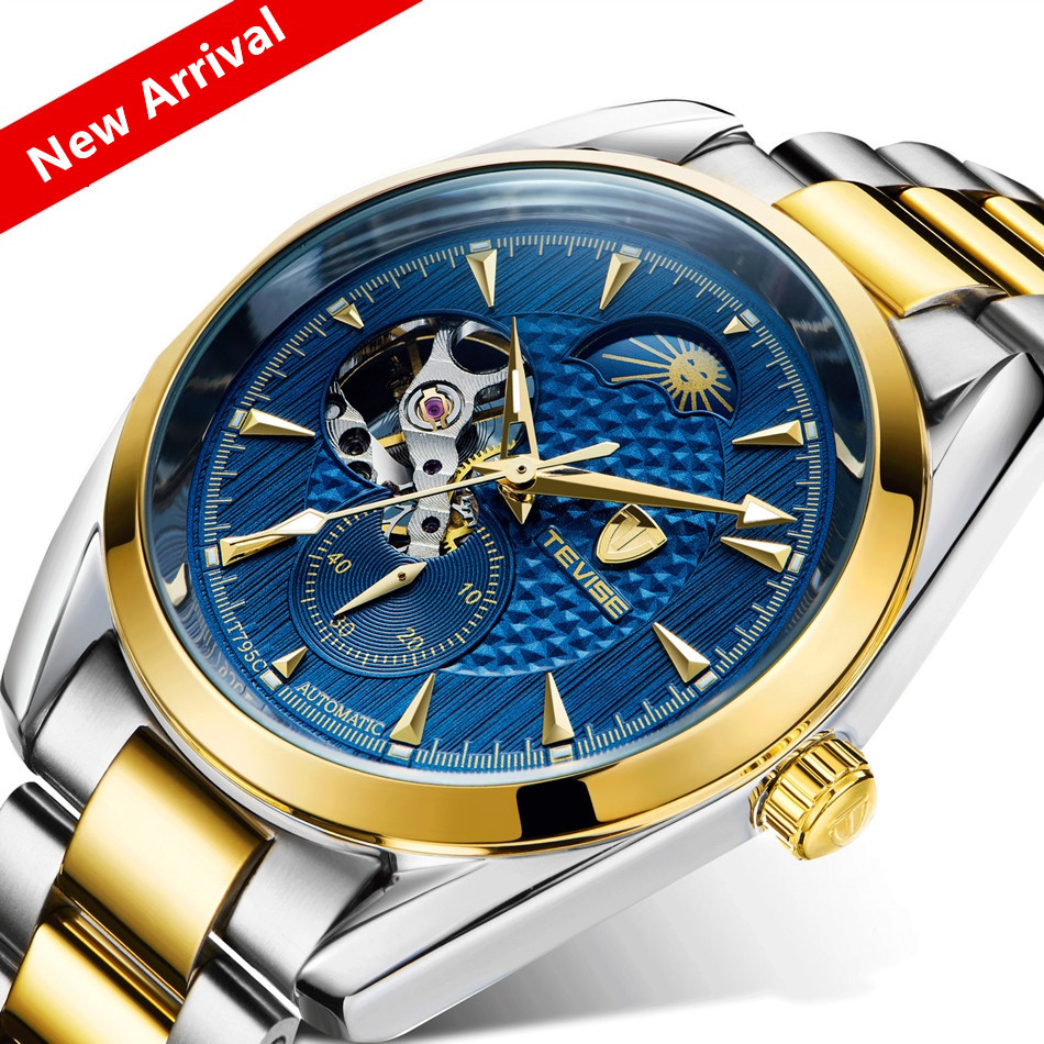 Tevise Watch Men Luxury Mechanical Automatic Tourbillon Business Men's Clock Moon Phase Steel Men Watch Waterproof Wristwatches guanqin luxury watch men moon phase waterproof luminous watch automatic stainless steel tourbillon mechanical wristwatches gifts