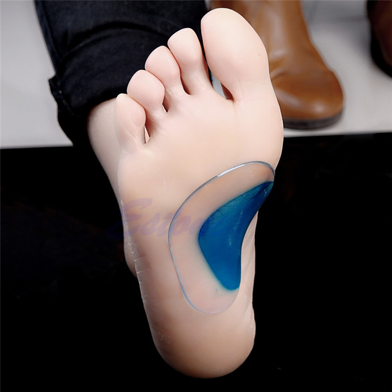 New Fashion 1 Pair Unisex Women Men High Quality Pugel Arch Flat Feet Orthotic Pain Relief Support Shoe Gel Cushion Pads Blue 2016 1 pair large size orthotic arch support massaging silicone anti slip gel soft sport shoe insole pad for man women