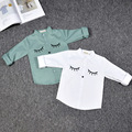 kids shirts baby girls boys white green-blue long sleeve eye giraffe pattern children shirt toddler cotton blouses wolf and rita