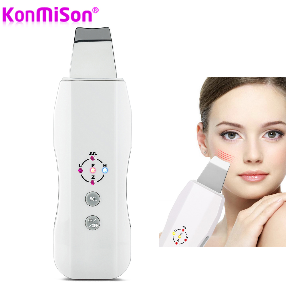 Konmison Recharge Ultrasonic Scrubber Massager Machine Skin Deeply Cleaning Device Anion Face Skin Care Peeling Lifting Scrubber