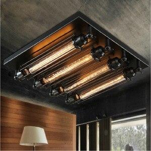 Image 2 - Loft żelaza lampa sufitowa 4 żarówki edisona przemysłowa Steampunk metal punk lampa w stylu Vintage retro deco oprawa oświetleniowa