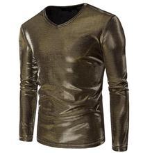 fashion slim sexy shirt men Punk metallic glossy V collar long sleeves camisa masculina teenage shirts mens gold