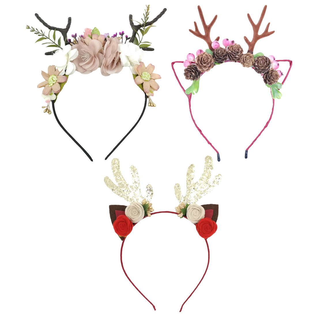 Novelty Antler flower headband Children's   headwear   Mori girl hair accessories Christmas decorations show props   headwear   gifts