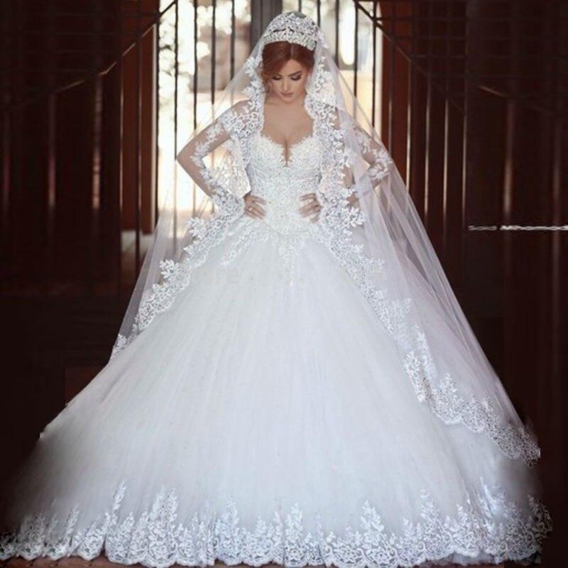 Luxury Vintage Long Sleeves Lace Wedding Dress 2017 Ball Gown Princess Casamento Romantico Vestido De Noiva Real Pictures - Shining Girl store