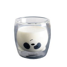 16 Style Panda Animal Heat Double Glass cat claw Cup Cute Student Transparent Three Bears Household Water birthday gifts