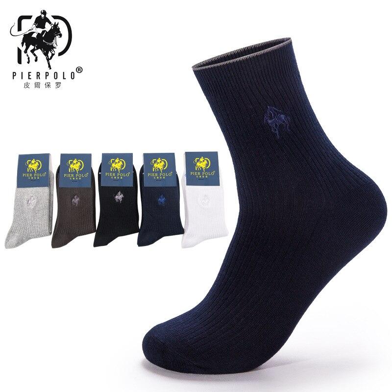 2018 Новый Пирс поло осенние и зимние подлинные мужские Носки чёсаный хлопок сплошной цвет мужские деловые Носки оптовая продажа