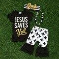 """2016 verão bebê criança meninas outfits capris """" jesus salva você """" cruz boutique roupa dos miúdos define combinar colar e arco"""