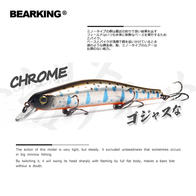 Bearking 11 cm 17g nam châm trọng lượng hệ thống dài đúc mô hình Mới câu cá lures cứng bait lặn 0.8-1.2 m chất lượng wobblers minnow
