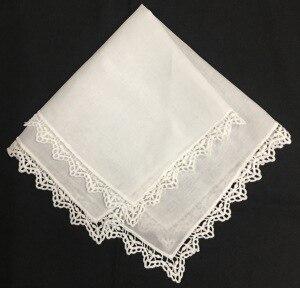 Set Of 12 Fashion Ladies Handkerchiefs White Cotton Wedding Bridal Handkerchief Vintage Embroidered Lace Hankie Hanky 12x12-inch