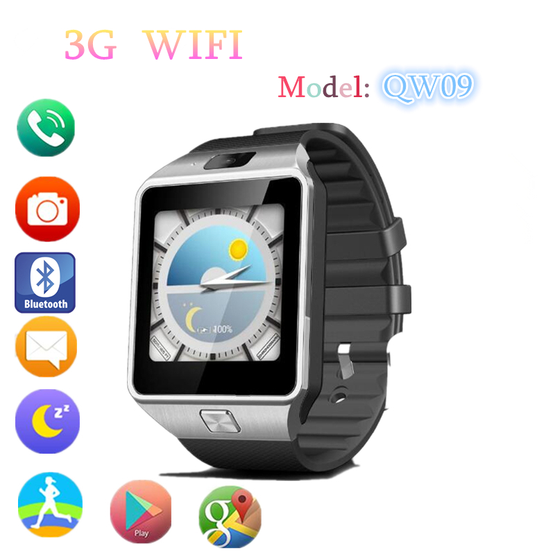 Original QW09 Smart Watch Clock Android 4.4 MTK6572 1.2GHz ROM 4GB RAM 512M Smartwatch For IOS/Android Watch Phone PK DZ09 GT08