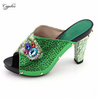 Popular green lady high heel pumps shoes hot sale wedding/party sandal shoes 506 6 size 37 43