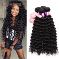 7A Unprocessed Brazilian Hair Deep Wave 3 Bunldes Human Hair Weaving Rosa Hair Products Deep Curly Brazilian Hair Weave Bundles