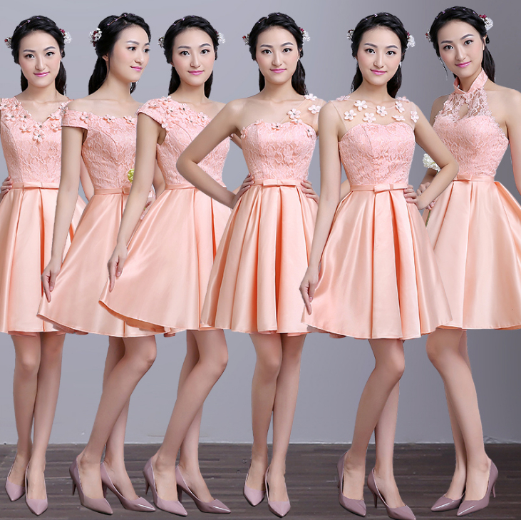 Robe De Soire Short Elegant Satin Bridesmaid Dress To Party Peach Colored Gowns Beautiful Bridemaids Dresses Ball Gown S3896 In From