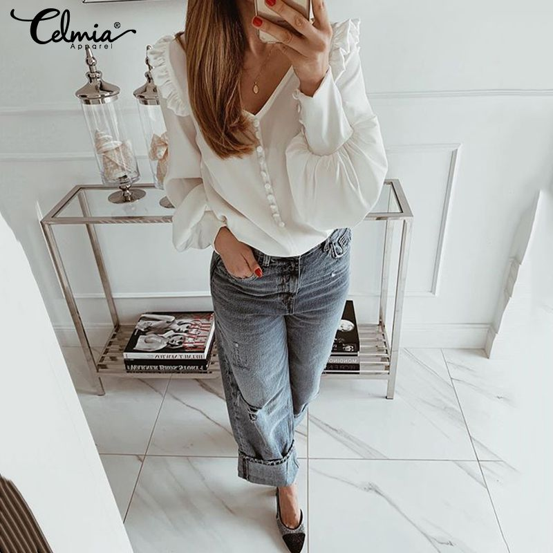 OL Style Women Blouses 2019 Fashion Autumn Plus Size Tops Celmia Sexy V Neck Long Sleeve Shirts Ladies Casual Solid Work Blusas(China)