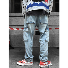 UNCLEDONJM Streetwear Hip hop Casual Jeans Men Washed Straight Fit Denim Pants Baggy Cargo Overalls 246W