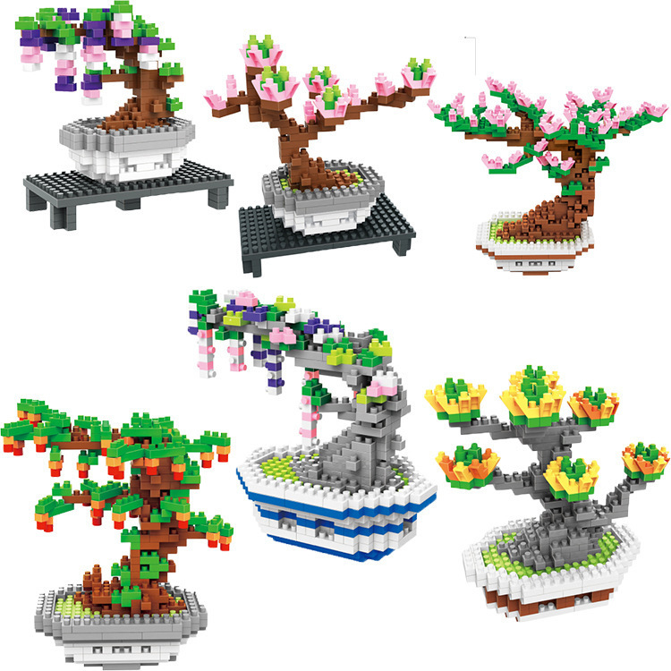 Assembly Mini blocks Cute pot plants Small Building Bricks Flower Model Educational Kids Toys Christmas Present For Girls Gifts golden gate bridge metal 3d jigsaw puzzles for kids stainless steel diy assembly model building architecture educational toys