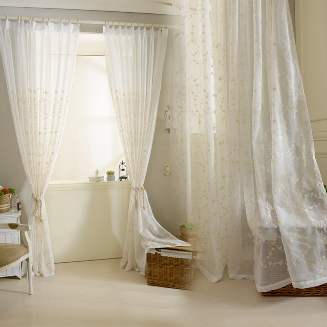 Cotton Linen Solid Embroidered Tulle Curtains For Living Room Window  Curtains For Bedroom Kitchen Modern Sheer