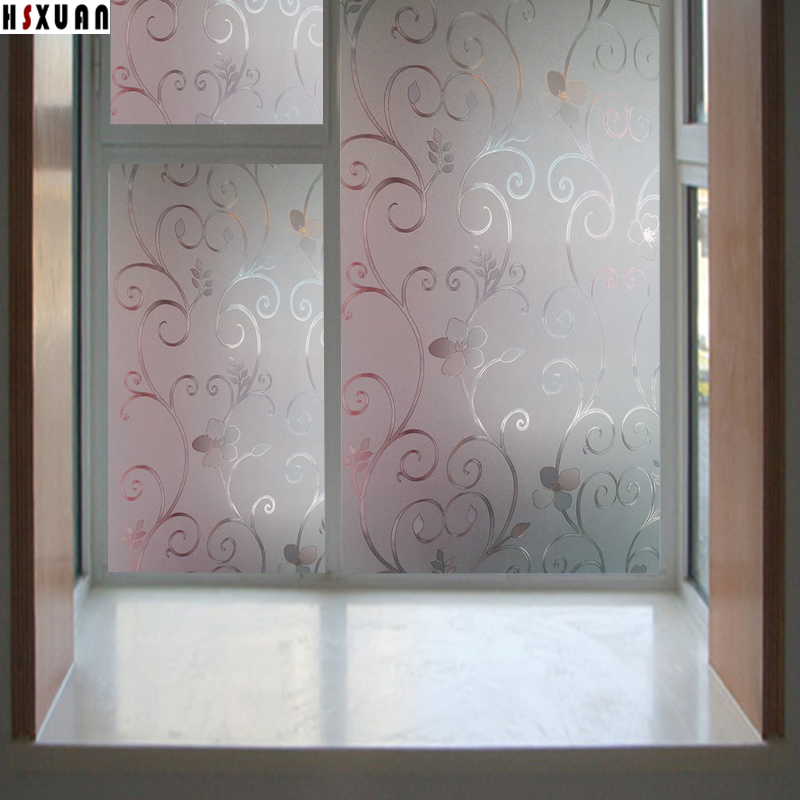 60x100cm Flower Decorative Window Privacy Film Bathroom Frosted Window  Stickers No Glue Electrostatic Film Hsxuan Brand