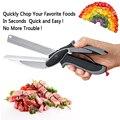 New inteligente smart 2 em 1 utility cortador faca & placa de aço inoxidável cortador de carne batata queijo vegetal multi-função tesoura