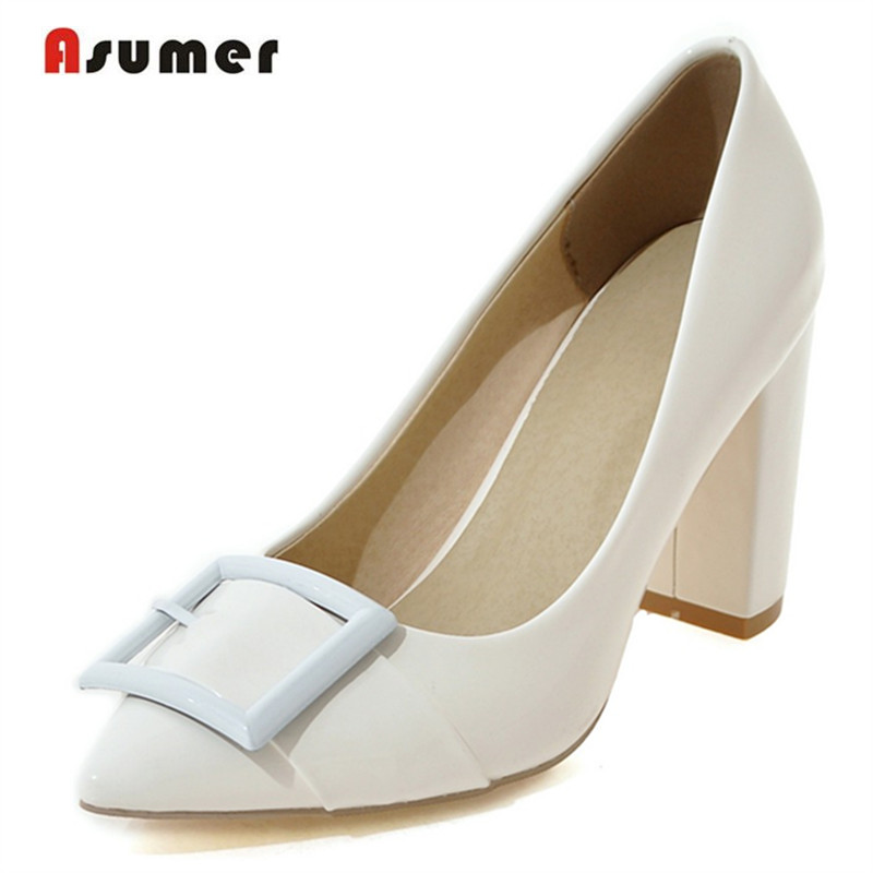 Asumer 2018 Women patent leather pumps single shoes party shallow square high heels shoes big size 33-43 fashion elegant solid morazora women patent leather pumps sexy lady high heels shoes platform shallow single elegant wedding party big size 34 43