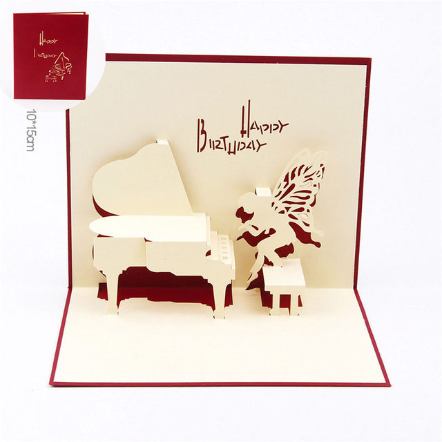 Online shop 3d laser cut handmade carving cute angel piano paper 3d laser cut handmade carving cute angel piano paper invitation greeting cards postcard children happy kids birthday party gift filmwisefo Image collections