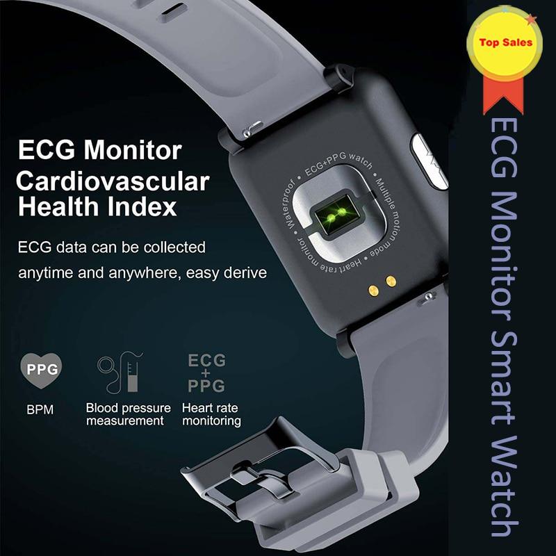 2019 dinámico corazón Monitor de ritmo inteligente reloj ECG + PPG banda inteligente ECG Smartwatch de atención de la salud Índice de presión arterial inteligente pulsera