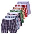 7 pcs/lot men underwear boxeadores cuecas boxers calzoncillos cotton boxer shorts alta calidad 7 piezas/porción de la tela escocesa bragas cómodas