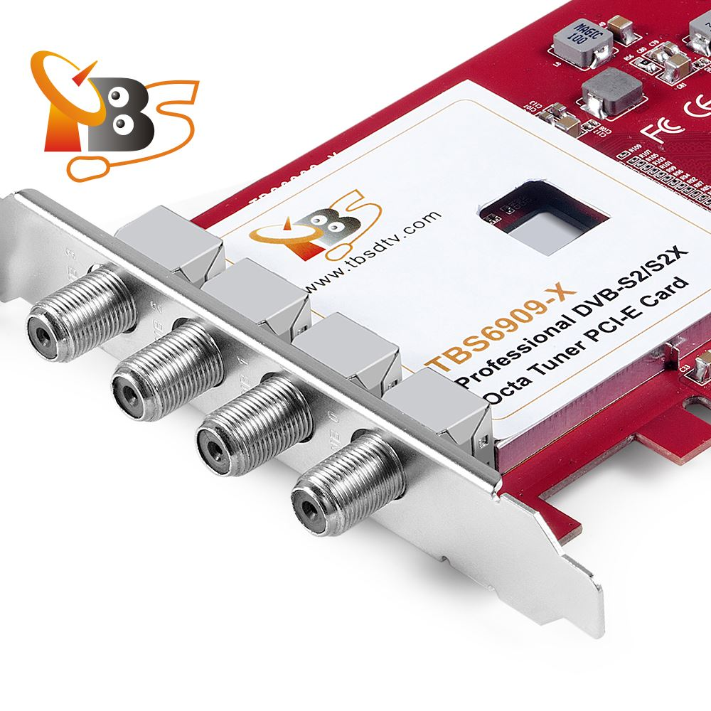 TBS6909X DVB-S/S2/S2X 8 Octa TV Tuner PCIe Card for Watching and Recording  Satellite FTA channels /Radio Programs on PC
