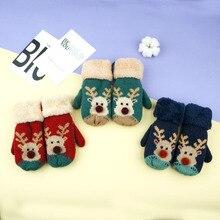 Зимний подарок детские перчатки теплые вязаные перчатки с рисунком оленя вязаные теплые бархатные перчатки для детей