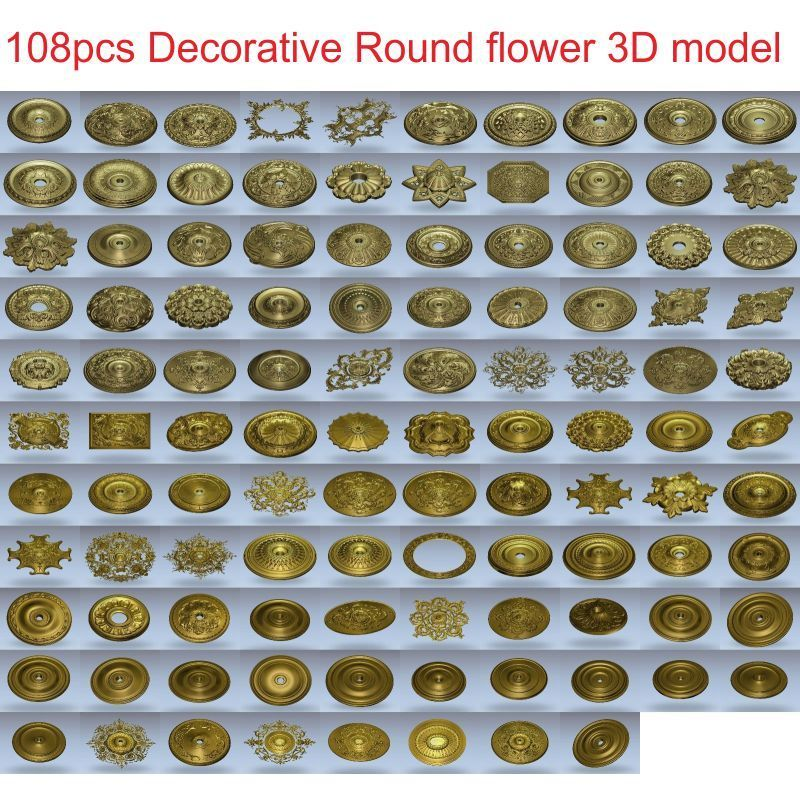 108pcs/set Decorative Round Flower 3d Model STL Relief For Cnc STL Format 3d Model For Cnc Stl Relief Artcam Vectric Aspire