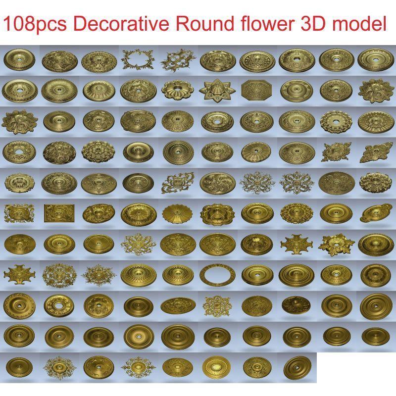 108pcs/set Decorative Round Flower 3d Model STL Relief For Cnc STL Format 3d Model For Cnc Stl Relief Artcam Vectric Aspire