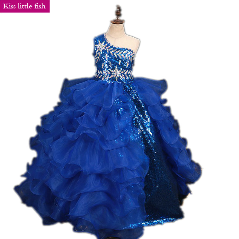 Free Shipping Blue  Pageant Dresses for Girls  Royal Blue Dress for Girls  Girls Dresses for Party and Wedding  One Shoulder