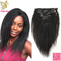 African American Clip In Human Hair Extensions Virgin Peruvian Hair Yaki Kinky Straight Coarse Human Hair Clips In Extension