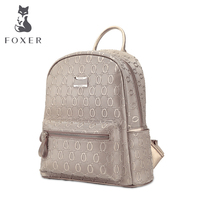 FOXER Students Embossing School Bag Ladies Women Big Style Leather Backpack Free Shipping