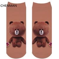 CHENMAN 1 Pair 3D Printed Cartoon Casual Short Socks Women Men Cute Low Cut Ankle Cartoon Cotton Sock Relaxed Bear