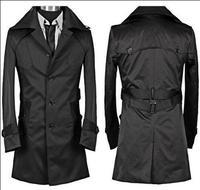 Autumn new designer slim short trench coat men overcoat long sleeve mens clothing business medium long outerwear black wine red