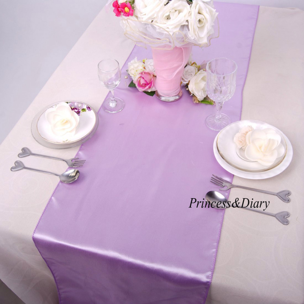10 Pieces Lavender Color Satin Table Runner 12inch X 108inch (30cm X 275cm)  20