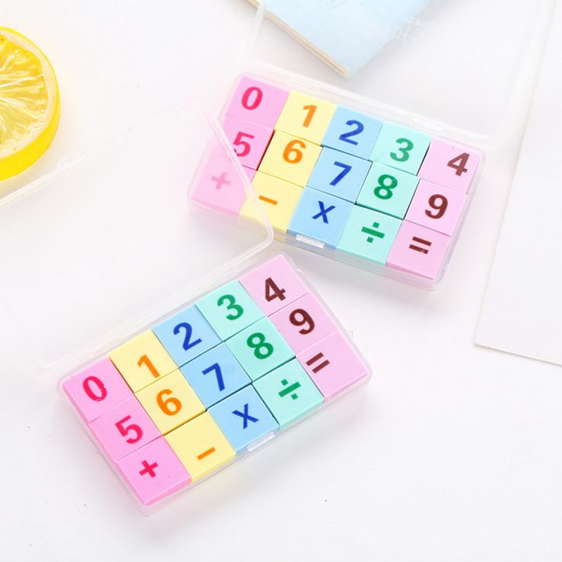 Coloffice 15PCS/Box Creative Digital Eraser Cute Little Rubber Gift Stationery Learning For Kid Candy Color Rubber Office School