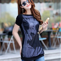 Plus Size L-4XL (bust 117cm) Women T-shirt New Summer Style Tees Woman Shirts Casual Tops Cotton Lace Patchwork Female T-shirts