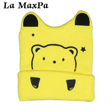 New Autumn Baby Boy And Girl Knit Beanies Cap Winter Warm Bear Cartoon Children Cotton Hat Accessories