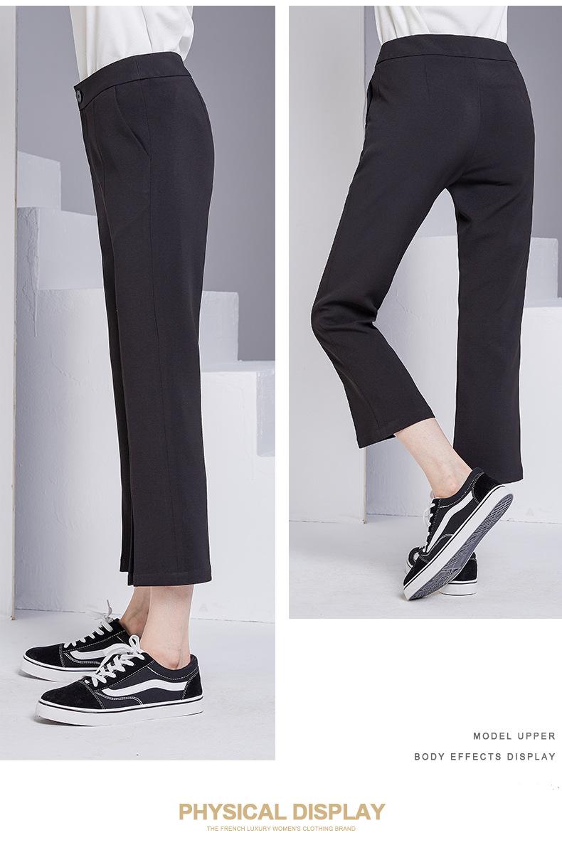 bootyjeans spring 2018 new European high-end women's slim black all-match split ankle length pants casual bottom pants 33