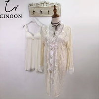 CINOON 2Pcs Lace Nightgowns Sleepshirt Night Gown Women Sexy Sleep Dress Lace Nightgown Lingerie Babydoll Woman