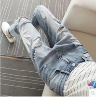 Holes Jeans Women's Seven cent Trousers 2018 Spring Summer Girls Student Korean Harlan Denim Pants Streetwear Vintage Jeans